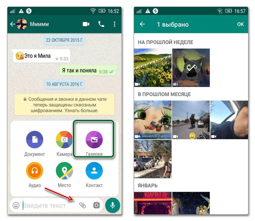 Отправка видео в WhatsApp